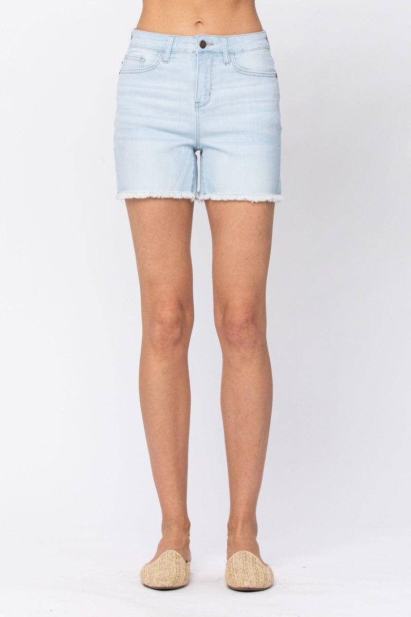 Judy Blue Hi-Waist Bleach Light Cut off Shorts