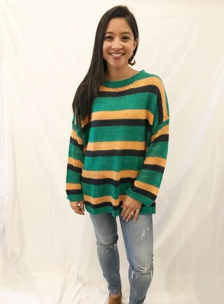Green Multi Stripe Sweater