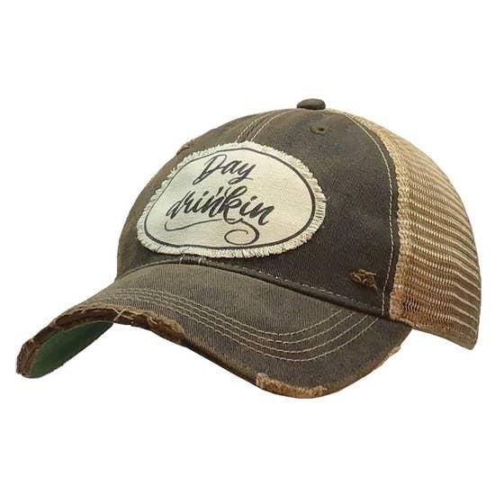 "Black ""Day Drinkin"" Distressed Trucker Hat"
