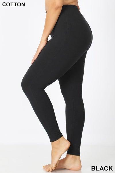 Plus Cotton Full Length Black Leggings