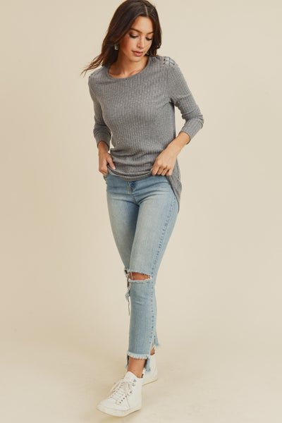Grey High Low Lace Up Detail Long Sleeve Top