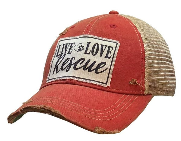 "Red ""Live Love Rescue"" Distressed Trucker Hat"