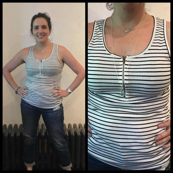 Striped Zipper Tank