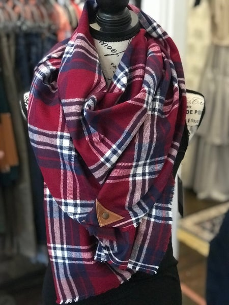 BXB Burgundy Plaid Blanket Scarf w/ Leather Snap Detail