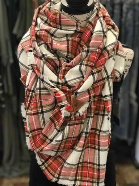 BXB Red & Rust Plaid Blanket Scarf w/ Leather Snap Detail