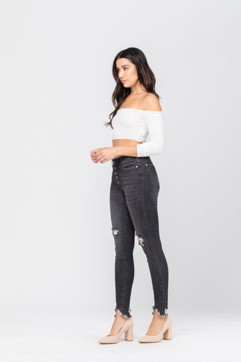 Judy Blue Destroyed Button Fly Grey Skinny Jeans
