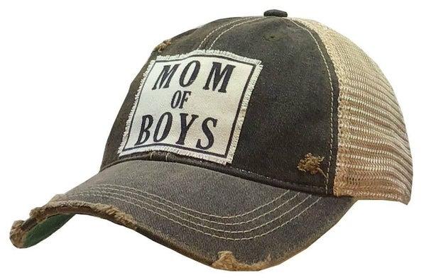 "Black "" Mom of Boys"" Distressed Trucker Hat"