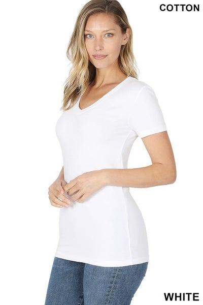 Basic V-Neck Short Sleeve Top (black,white)