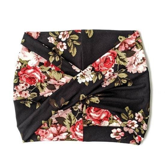 Black Floral Wide Headband