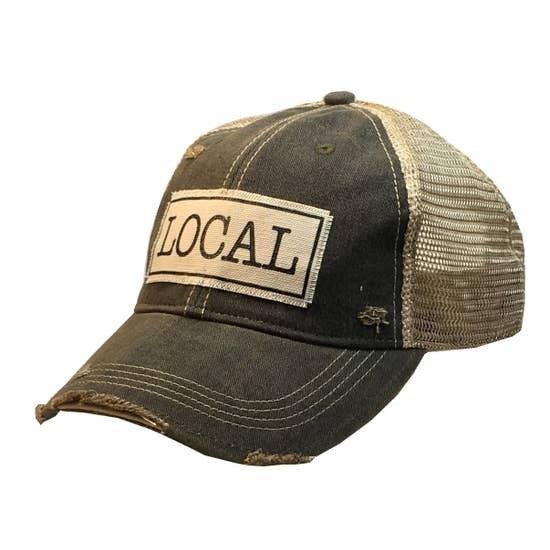 "Black ""Local"" Distressed Trucker Hat"