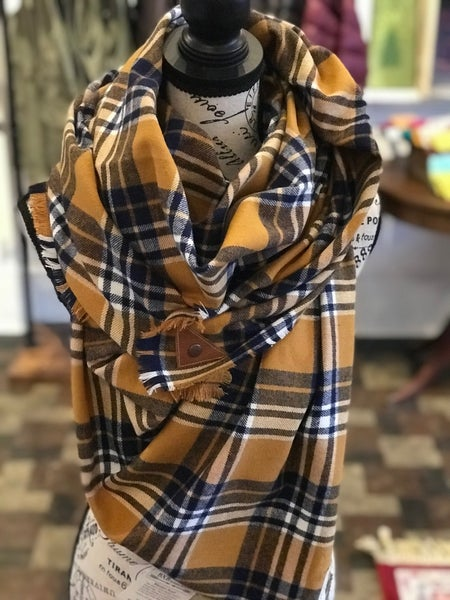BXB Navy & Mustard Plaid Blanket Scarf w/ Leather Snap Detail