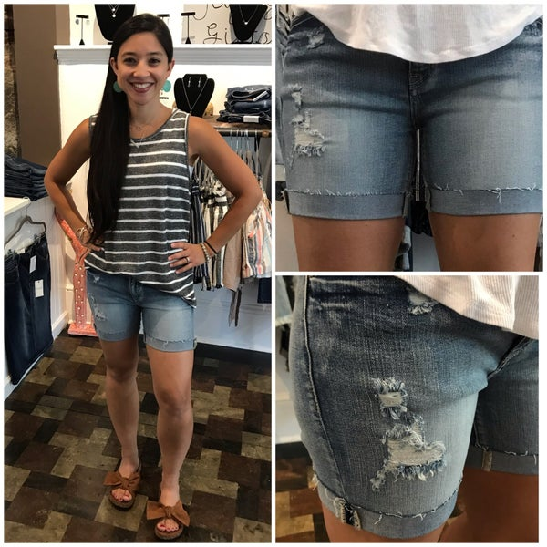 KanCan Light Wash Distressed Shorts