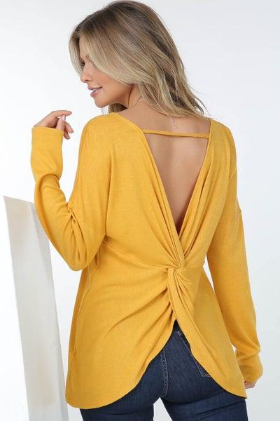 Mustard, Navy, or Purple Cashmere Sweater w/ Back Lattice Twist Detail