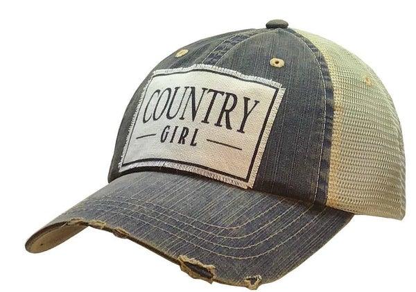"Blu Denim ""Country Girl"" Distressed Trucker Hat"