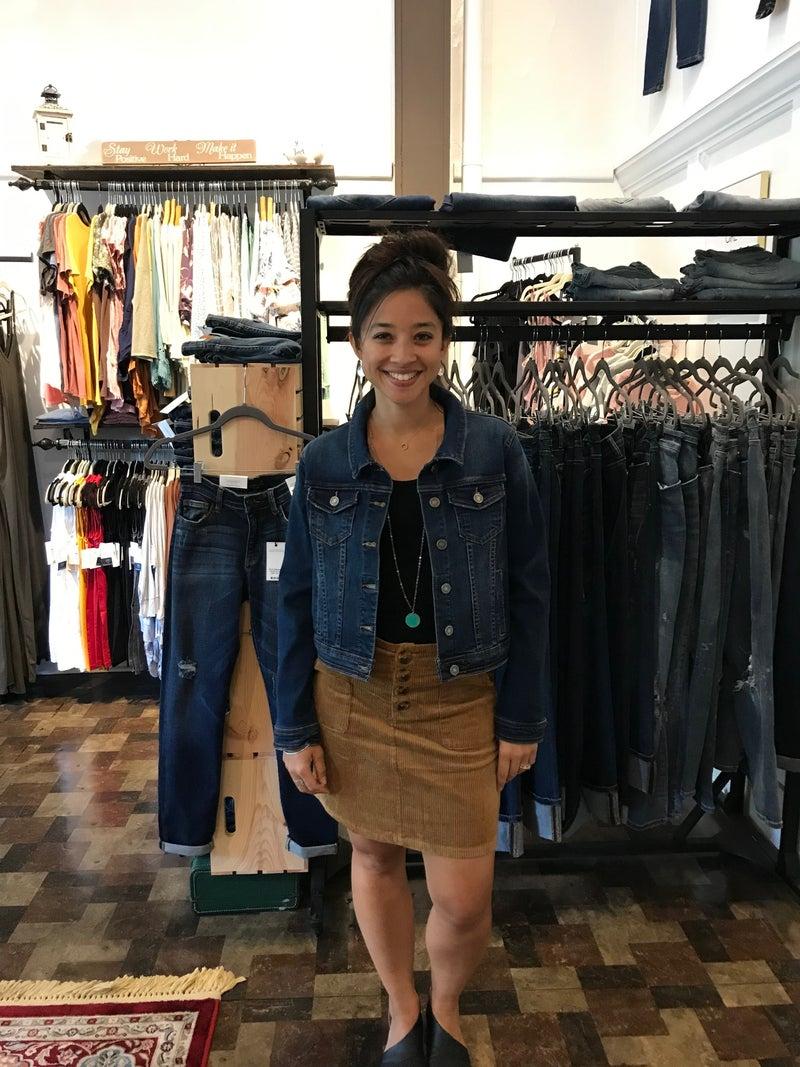 Corduroy High Waist Button Front A- Line Skirt