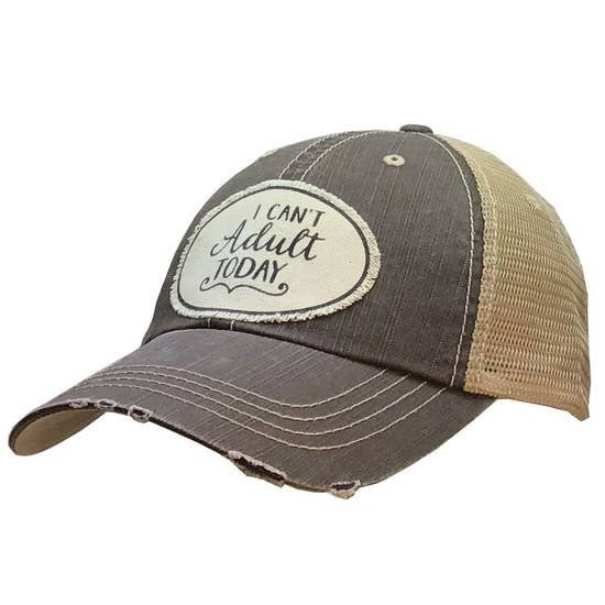 "Grey ""I Can't Adult Today"" Distressed Trucker Cap"
