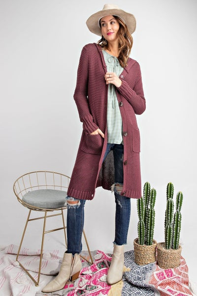 Plum Button Down Hooded Cardigan