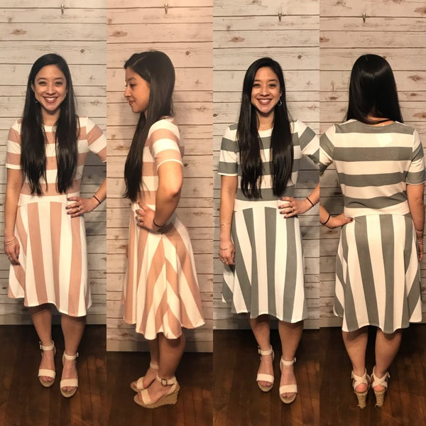 Blush or Charcoal Basic Striped Dress