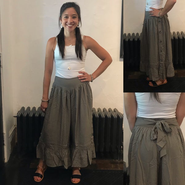 Olive or Charcoal Ruffle Culotte Pants