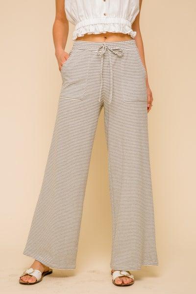 Cream & Charcoal Wide Leg Pants