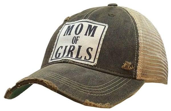 "Black ""Mom of Girls"" Distressed Trucker Hat"