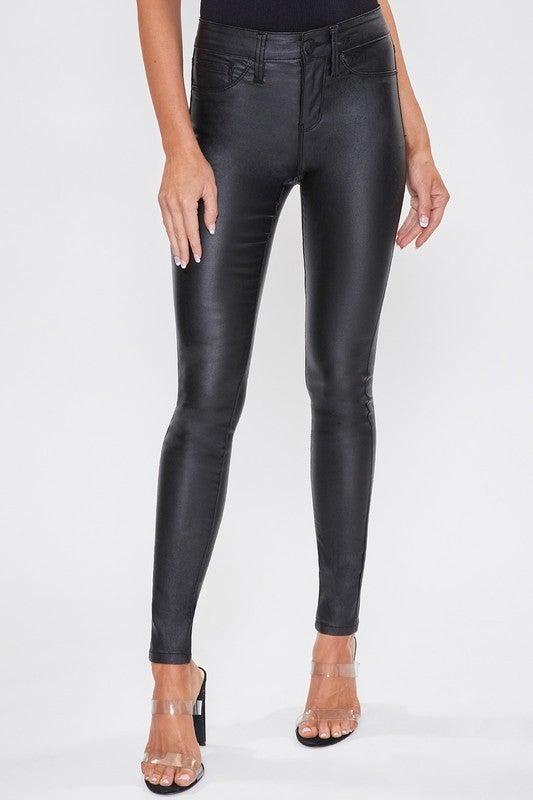Black Hyper Stretch Coated Skinny Jeans