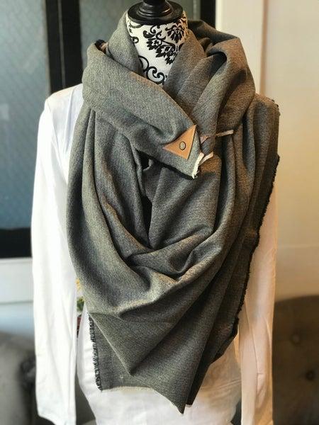 BXB Black & Grey Herringbone Blanket Scarf with Leather Detail Snap