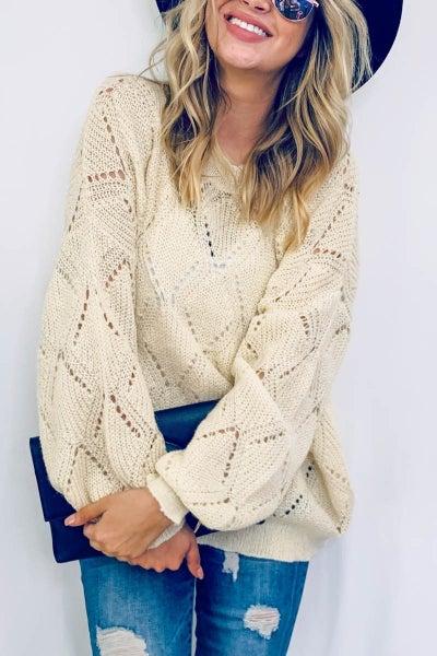 Beige Cozy  Pull Over Sweater