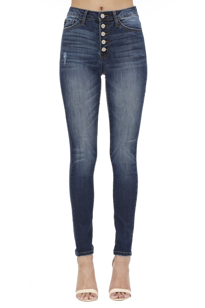 Plus Size KanCan Dark Wash High Rise Skinny Jeans with Button Closure