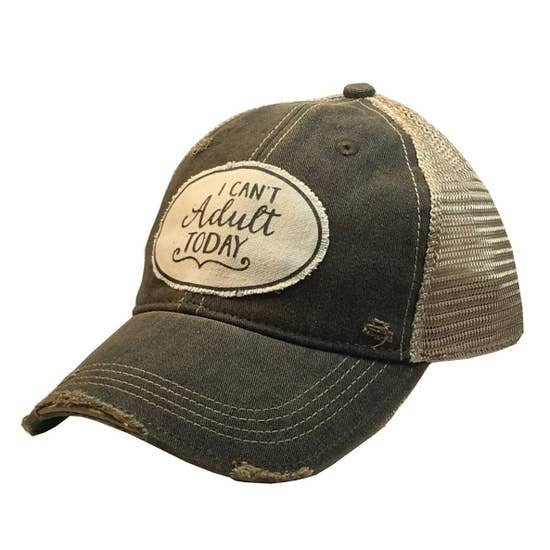 "Black ""I Can't Adult Today"" Distressed Trucker Hat"