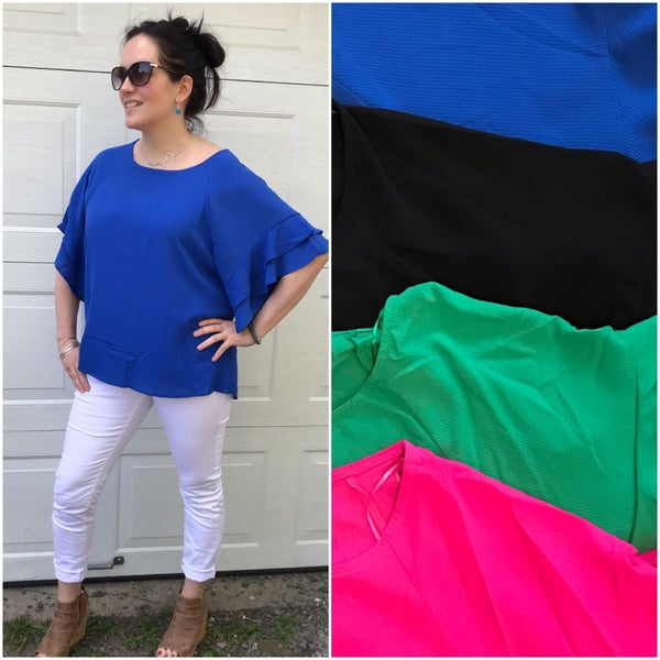 Ruffle Sleeve Top- NEW colors added *Final Sale*