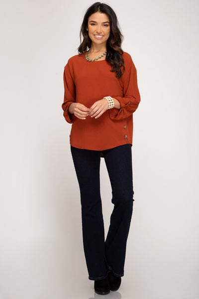 Black or Rust Long Sleeve Woven Top w/ Side Button Detail