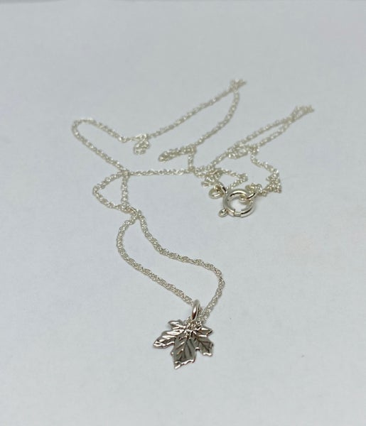 Tiny Sterling Silver Maple Leaf Necklace
