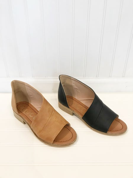 Black or Tan Open Toe Flats