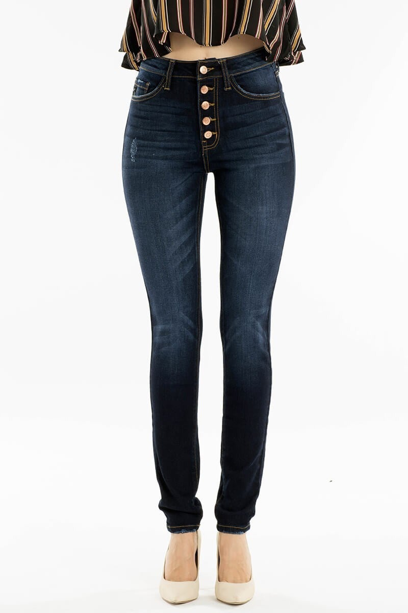KanCan Dark Wash High Rise Skinny Jeans with Button Fly