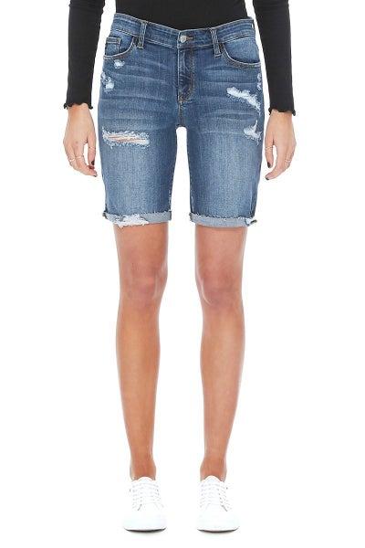 Judy Blue Plus Dark Wash Destroyed Bermuda Shorts