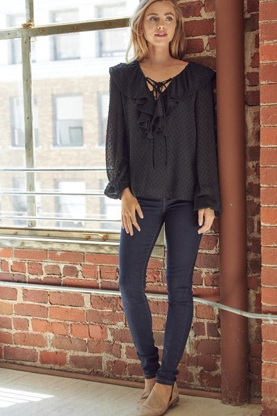 Black or Mocha Chiffon Blouse with Tie