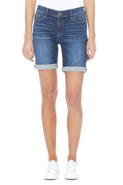 Judy Blue Mid-Rise Dark Wash Bermuda Shorts