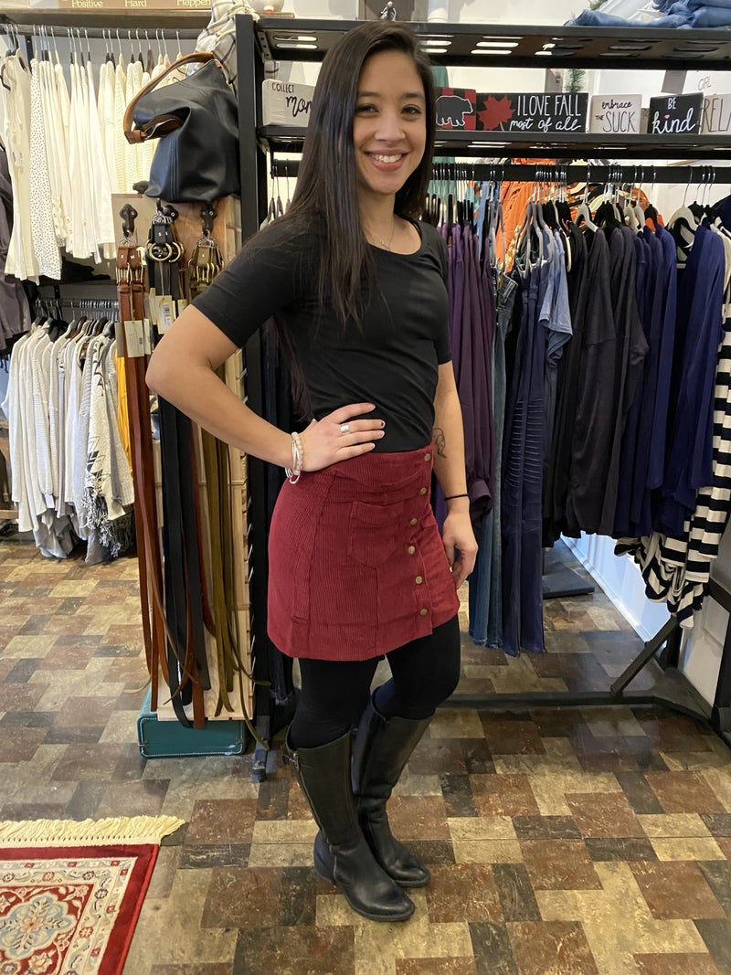 Charcoal, Brick, or Wine Corduroy Button Up Mini Skirt
