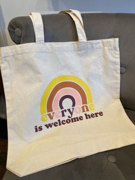 """""""Everyone is Welcome Here"""" Canvas Tote Bag"""