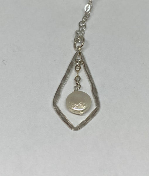 Hammered Sterling Silver Kite Pendant with Fresh Water Pearl