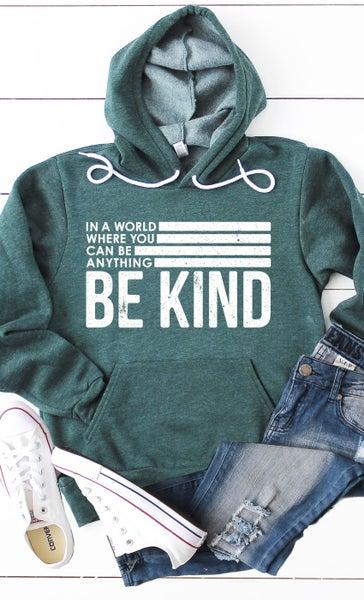 Be Kind Graphic Hoodie (green, black, slate blue)