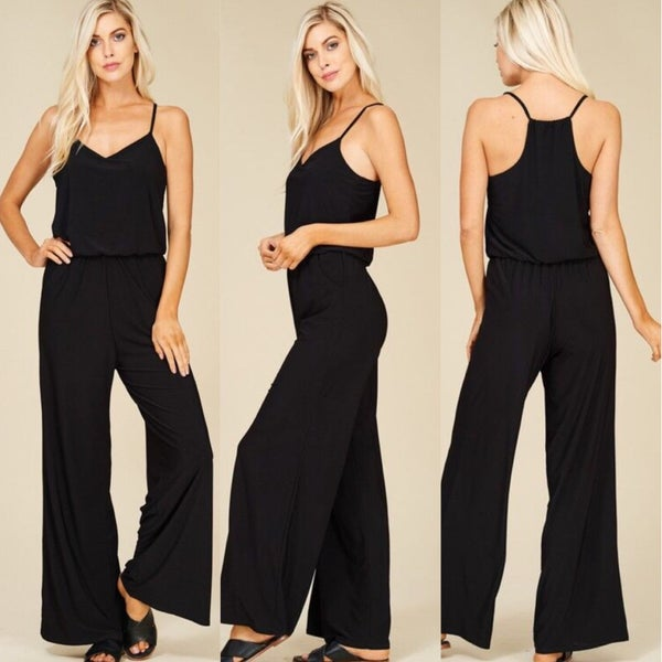 Black Sleeveless Waisted Jumpsuit