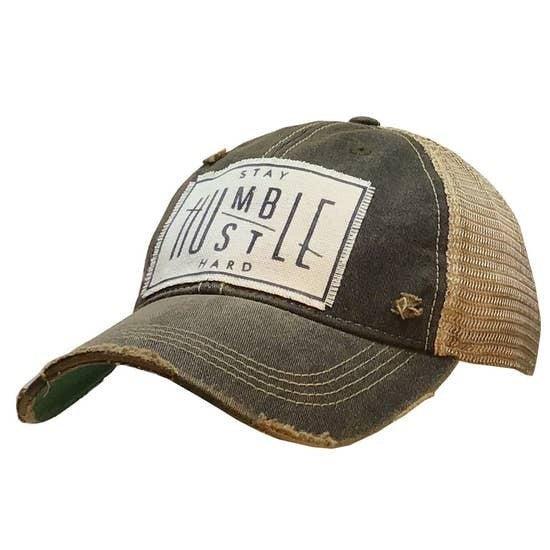 "Black ""Stay Humble Hustle Hard"" Distressed Trucker Cap"