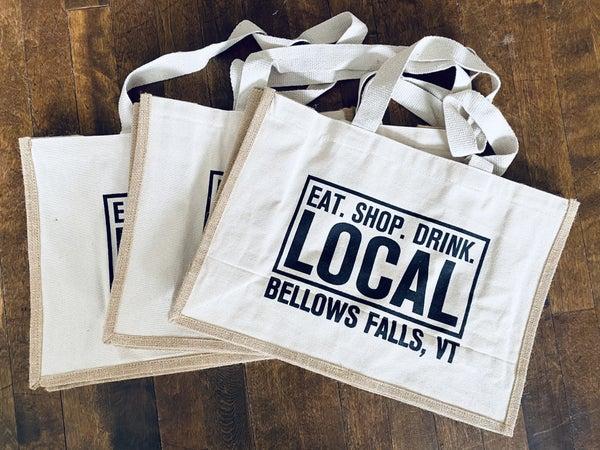 Eat. Shop. Drink. Bellows Falls, VT Tote Bag
