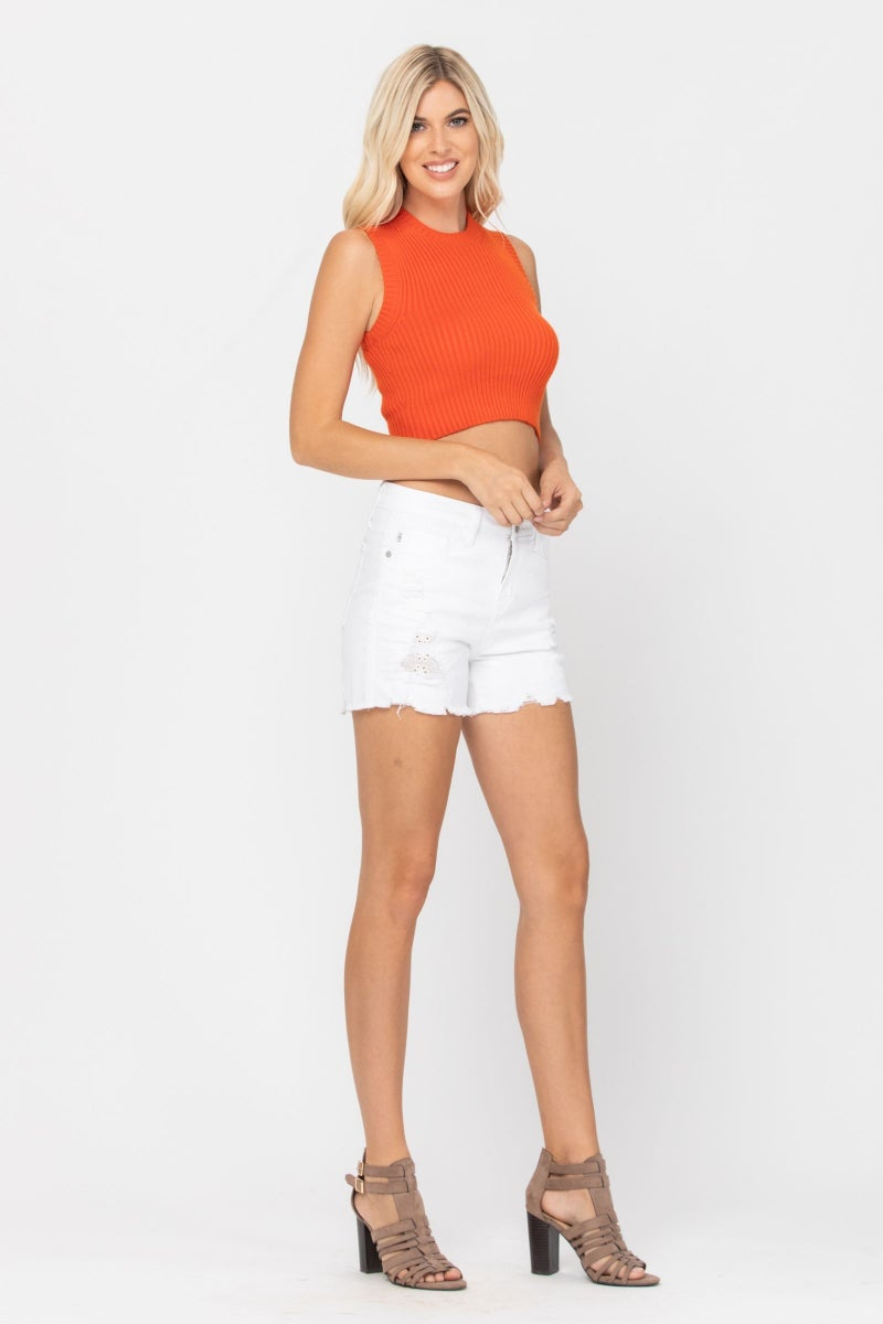 Judy Blue White Lace Patch Shorts