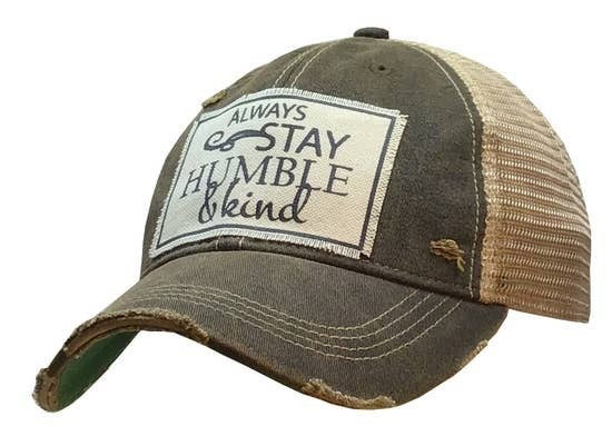 "Black ""Always Stay Humble & Kind"" Distressed Trucker Cap"