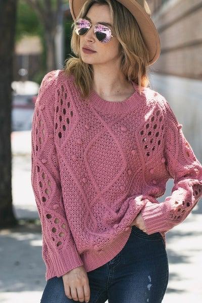 The Harper Sweater (mauve, charcoal)