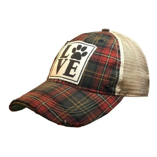 "Red/Plaid ""Love (Paw)"" Distressed Trucker Hat"