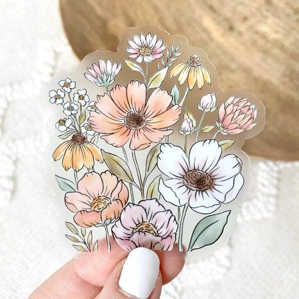 Clear Wildflower Bunch Sticker
